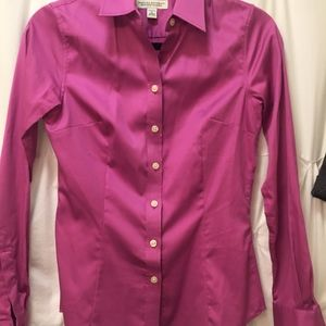 Raspberry Cotton Fitted Shirt